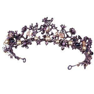 Purple Flowers Beads Bronze Tone Crystals Tiara
